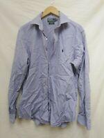 "Men's Polo Ralph Lauren Blue White Stripe Button Casual Shirt 16.5"" #94B2"