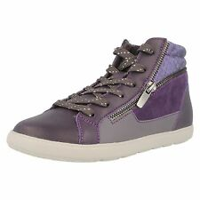 NEW CLARKS ZITA SNAKE PURPLE HI TOP LEATHER CANVAS TRAINERS - UK size 11.5G