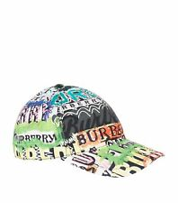 BRAND NEW BURBERRY FONTS ARCHIVE LOGO PRINT MULTICOLORED BASEBALL CAP M/L HAT