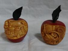 The Enchanted Orchard Wood? Carved Apples Set of 2 Americana Thanksgiving