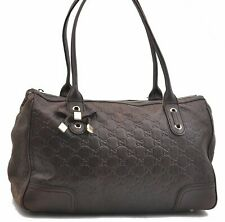 Authentic GUCCI Guccissima Princy Leather Shoulder Bag Brown A7886