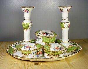 "Aynsley ""Scala"" Dressing Table Set incl. Candlesticks - Mortlocks"