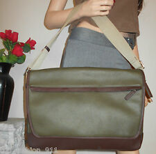 NWT COACH MEN WOMEN GREEN PEBBLED LEATHER TRAVEL LAPTOP BOOK SHOULDER BAG TOTE