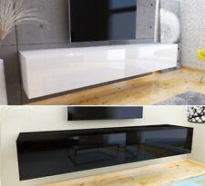 TV Lowboard Schrank Hängeboard Board mit HOCHGLANZ MDF Weiß Schwarz Eiche 180 cm