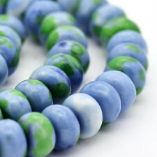 25 Jade Beads 6mm x 4mm Abacus Dyed Gemstone Ocean Tone Beads - Bd908