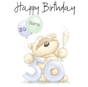 PERSONALISED HAPPY FIFTY 50TH  BIRTHDAY CARD  BEAR CHAMPAGNE AND BALLOONS