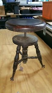 Antique Victorian Wood PIANO STOOL Glass Ball & Claw Feet 1800's Parker CT.