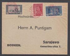 Bosnia & Herzegovina Sc B13-B15 on 1917 cover, red SARAJEVO Military cancels