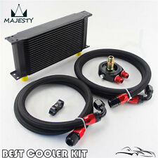 Universal 19 Row Engine Oil Cooler Kit + Sandwich Plate + AN10 Oil Lines Kit BK