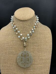 Barse Tucson Carved Necklace- Stone & Sterling Silver- NWT