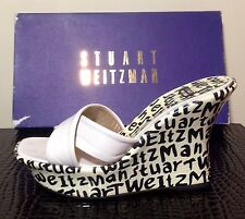 STUART WEITZMAN signature wedges size 6 white and black crisscross top