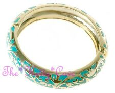14 KGP Gold Chic Swirl Scroll Pattern Turquoise Enamel Hinged Bangle Bracelet