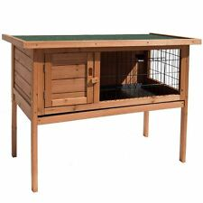 Pet Rabbit Hutch Single Brown Wooden Bunny Animal Guinea Pig Cage Garden House