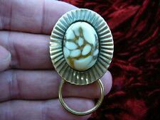 #E-366  Yellow white Czech Eyeglass pin pendant ID badge holder
