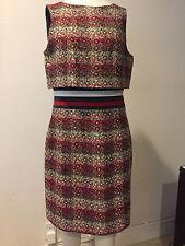 Preowned CAROLINA HERRERA Multicolor Burgundy  Dress, NO SIZE TAG !!!! CAMDAY