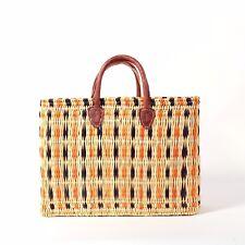 Market or Gift Basket with Leather Handles,Beach Basket, Picnic Bag, Orange/Blue