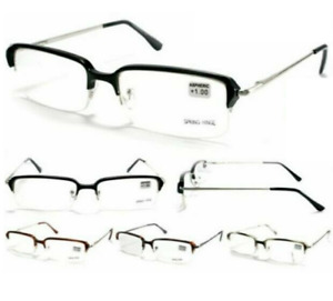 Reading Glasses Mens Half Rim Spring Hinge Genuine PMSR Italian Designer Readers