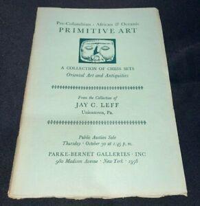 Pre-Columbian, African, Oceanic 1958 Parke-Bernet Art Auction Catalog CHESS SETS