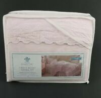 Simply Shabby Chic Pink Embroidered Border Twin Duvet with Sham New 100% Cotton