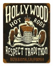 Hollywood Hot Rods Respect Tradition Rod Vintage Retro Sign Blechschild Schild