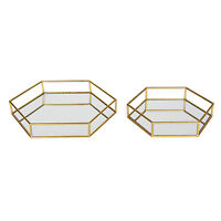 Felicia Gold Metal Mirrored Nesting Decorative Trays by Kate and Laurel