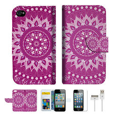 Purple AZTEC TRIBAL Wallet Case Cover For Apple iPhone 4 4S -- A003