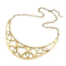 Corazón de metal único bronce Grueso Babero Collar de declaración único
