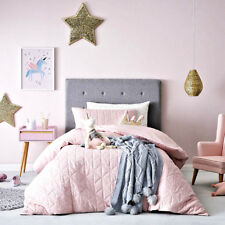 SADIE STAR QUILTED PINK FLANNELETTE DOUBLE Quilt Doona Duvet Cover set ADAIRS