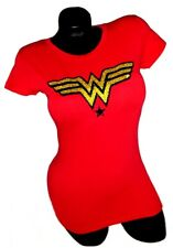 Wonder Woman Red Fitted Spandex tee with shiny black & gold lettering.