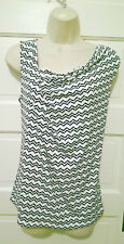 Ivanka Trump Black & White Chevron Pattern Cowl Drape Neckline Career Top