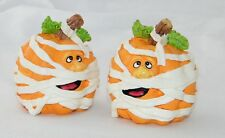 Cute! Set of 2 Ceramic Pumpkins Wrapped Like Mummies . Halloween Holiday Decor