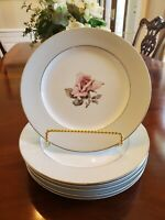 "6 Halsey Fine China Damask Rose 10 1/4"" Dinner Plates (Set of 6) Japan Very good"