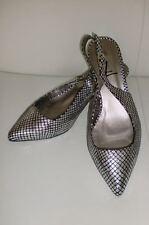 Elegante Slingpumps schwarz mit Silberrauten Gr. 36 by LIVA LOOP
