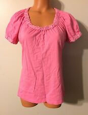 •• Women's Size Medium Liz Claiborne Blouse Cotton Pink Shirt SS Top