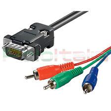 Cavo 10m VGA RGB yuv convertitore svga av per monitor pc tv lcd video proiettore