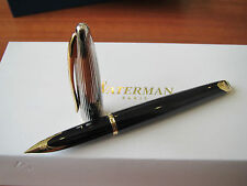 Waterman Carene Deluxe black and silver fountain pen Medium nib Mint