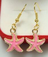 Pretty New Gold Plated Pink Enamel Starfish Charm Dangle Drop Earrings