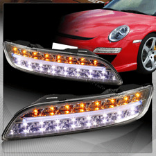 For 2004-2009 Porsche 911 997 Chrome Housing DRL LED Turn Signal Bumper Lights