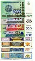 UZBEKISTAN SET OF 8 Pcs  5,25,50,100,200,500,1000,5000 SUM 1994/2013 UNC NEW