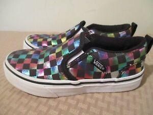 Vans Girls Classic Slip On Sneakers Black 500714 Rainbow Checkered size 13 Missy