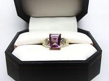 10k Yellow Gold Genuine 2.2ct. Emerald Cut Amethyst & Diamond Ring - Size 7