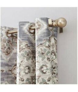"""Floral Curtain Regina Watercolor  Insulated Grommet Curtain Panel Gray 40""""x84"""