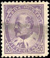 1908 Used Canada 50c F+ Scott #95 King Edward VII Stamp