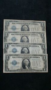 FOUR 1928A One Dollar FUNNY BACK SILVER CERTIFICATE $1 Bills Starts At 99 Cents!