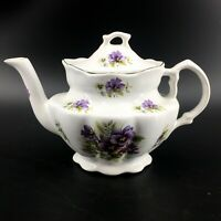 Crown Victorian Purple Flowers Pansies Bone China Tea Pot Staffordshire England