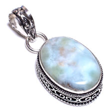 Caribbean Larimar .925 Silver Plated Hand Carving Pendant Jewelry L23