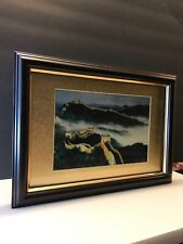 """Rare Pure Silver Foil Art Great Wall of China Mountains 10"""" X 7"""" Gallery"""
