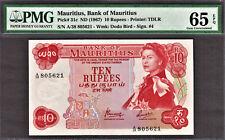 Mauritius 10 Rupees 1967 QEII Pick-31c GEM UNC PMG 65 EPQ