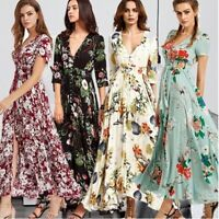 Womens Boho Floral Long Maxi Dress Summer Beach Evening Party Cocktail Sundress
