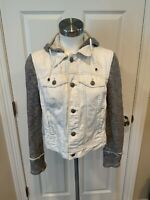 Free People White Distressed Jean Jacket W/ Gray Hood & Sleeves, Size S